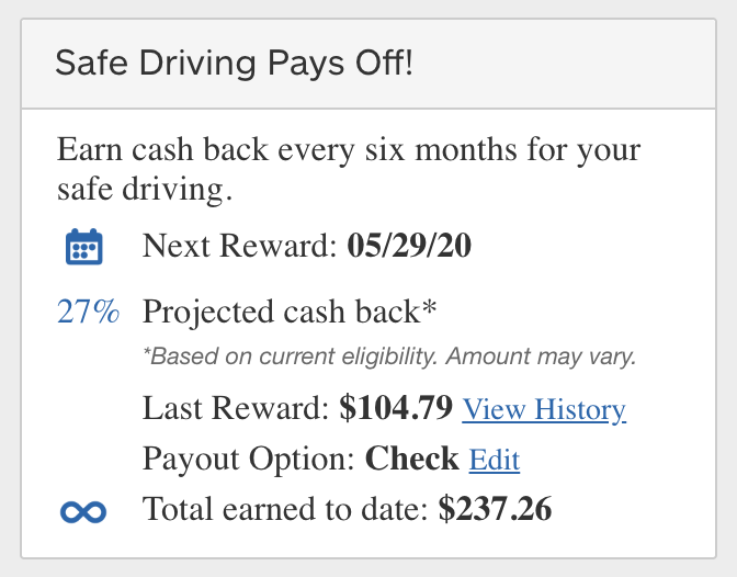 Drivewise cash back. I got a check for $104.79 on my last renewal.
