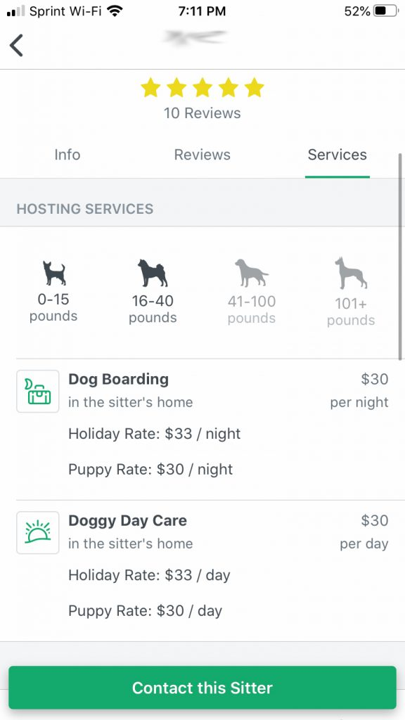 Rover dog sitting app prices