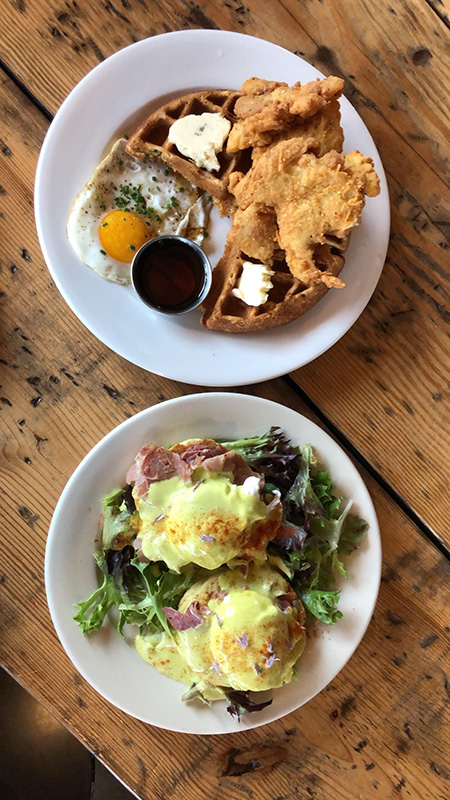 Chicken & Waffles and Eggs Benedict at Commune in the ViBe District
